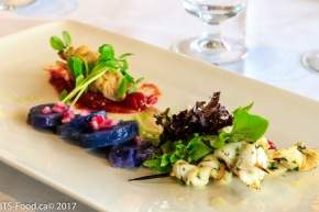 Purple Potato Salad, house made Tomato-Chili Jam with lightly grilled squid skewers and house made Spicy Red Pepper relish deep fried squid