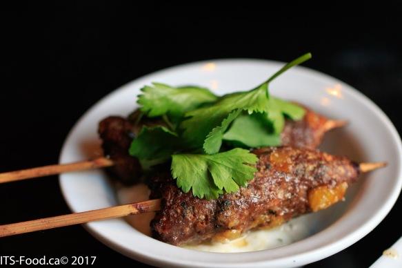 Spice Lamb Kefta Skewerswith minted yougurt