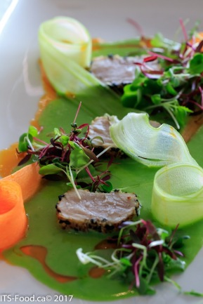 Appetizer - Seared Tunaon Carrot dust, beet powder, warm green pea and coconut coulis served with carrot & celery ribbons