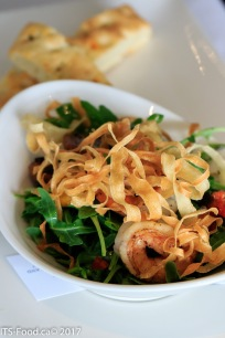 Appetizer - Warm Prawns & Arugula SaladPrawns, Arigula, roasted pepper, garlic, tomato and lemon basil dressing