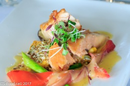 Main Course - Salmon Three WaysSmoked, Roasted and Beet Cured. Beurre blanc, butternut squash & potato Pave