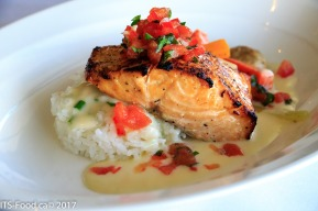 Pan Seared Salmontomato basil salsa, sticky rice and seasonal vegetables with a citrus chive cream sauceSeared beautifully, moist, tender and packed with flavour.