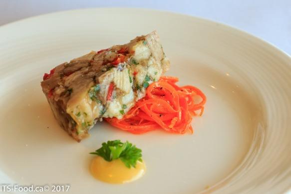 Amuse-boucheHouse made Head-cheese on a carrot curl, fresh aioli sauce