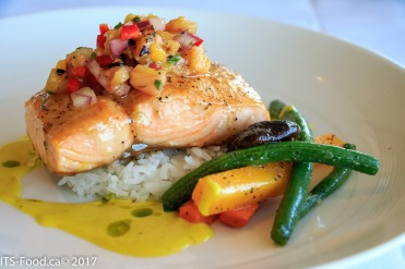 Pan Roasted SalmonJasmine rice & seasonal vegetables, grilled pineapple cilantro salsa, coconut curry cream sauce